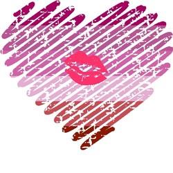 scribble heart lipstick lesbian pride grunge print art