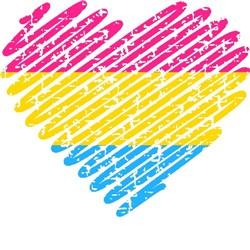 scribble heart pansexual pride grunge print art