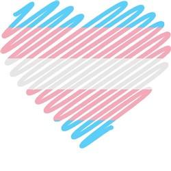 scribble heart transgender pride print art