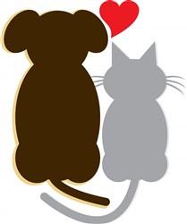 Dog Heart Cat print art