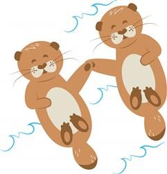 Otters print art