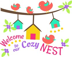 Bird Houses Welcome To Our Cozy Nest print art