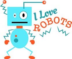 Robot I Love Robots print art