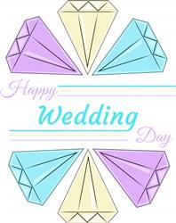 Diamonds Happy Wedding Day print art
