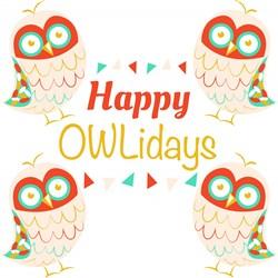 Owl Happy Owlidays print art