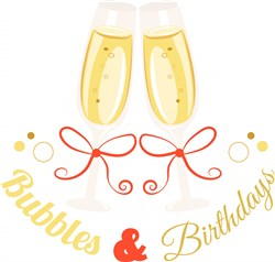 Champagne Bubbles And Birthdays print art