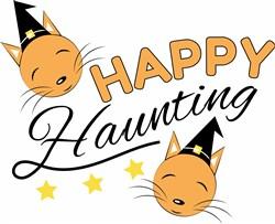 Halloween Cat Happy Haunting print art