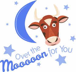 Cow Over The Mooooon For You print art
