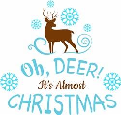 Oh Deer Christmas Is Almost Here Reindeer print art