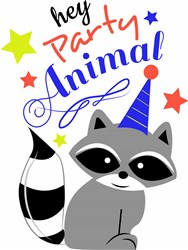 Racoon Hey Party Animal print art