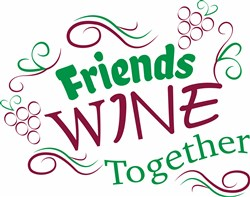 Friends Wine Together print art