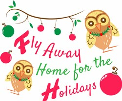 Xmas Owl Fly Away Home For The Holidays print art