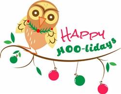 Xmas Owl Happy HOOlidays print art