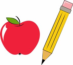 School Apple print art