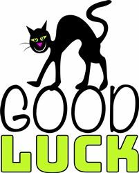 Black Cat Good Luck print art