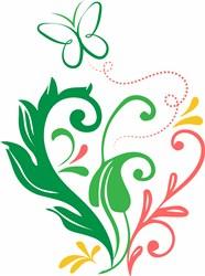 Butterfly & Flowers print art