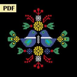 Folk art cross stitch pattern