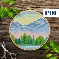 Landscape Mountains cross stitch pattern