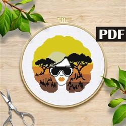 African Woman Cross Stitch Pattern