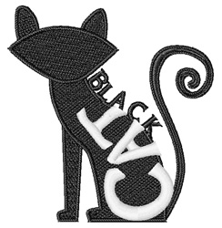 Halloween Black Cat embroidery design