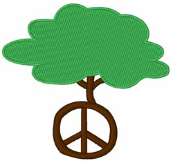 Tree Peace Symbol embroidery design