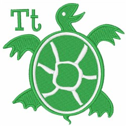 T For Turtle embroidery design