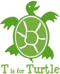 T Is For Turtle embroidery design