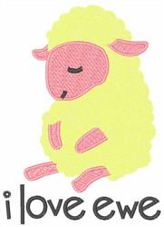 Baby Lamb I Love Ewe embroidery design