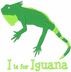 I Is For Iguana embroidery design