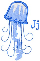 Jellyfish With J embroidery design
