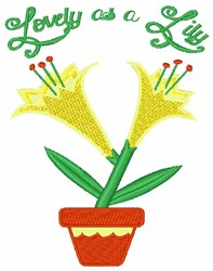 Lovely As A Lily embroidery design