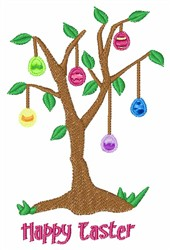 Happy Easter Egg Tree embroidery design