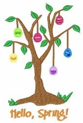 Hello Spring Egg Tree embroidery design