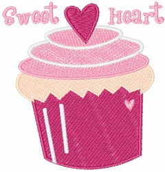 Sweet Heart Cupcake embroidery design