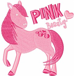 Pink Beauty Pony embroidery design