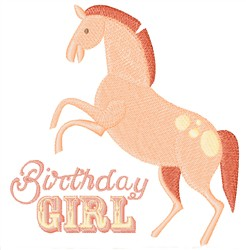 Birthday Girl Pony embroidery design