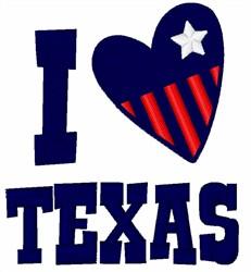 I Love Texas embroidery design