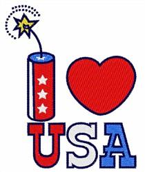 I Love USA Firecracker embroidery design