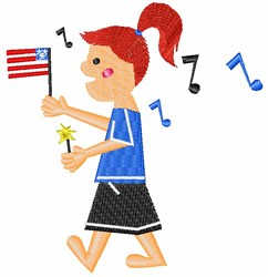 July 4th Girl embroidery design