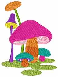 Colorful Mushrooms embroidery design