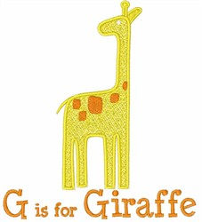 G Is For Giraffe embroidery design