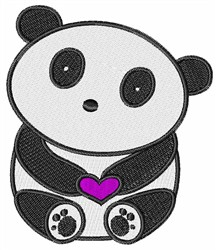 Panda Heart embroidery design