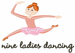 9 Ladies Dancing embroidery design
