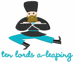 Lords A-Leaping embroidery design