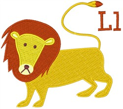 Lion Letter L embroidery design