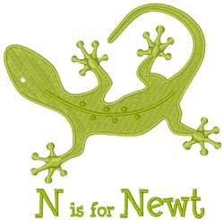 N Is For Newt embroidery design