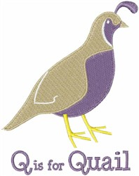 Q Is For Quail embroidery design