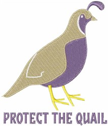 Protect The Quail embroidery design