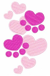 Heart Paw Prints embroidery design
