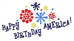 July 4th Fireworks embroidery design
